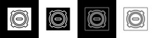 Set Manhole Sewer Cover Icon Isolated On Black And White Background. Vector Illustration