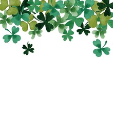 Clover Leaves Watercolor Patte...