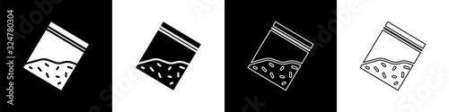 Fototapeta Set Plastic bag of drug icon isolated on black and white background. Health danger. Vector Illustration obraz