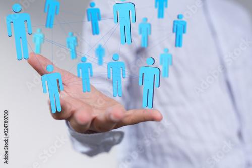 communication network  digital workforce 3d Canvas Print