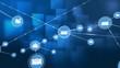 Connectors moving on blue digital background