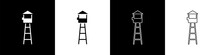 Set Watch Tower Icon Isolated On Black And White Background. Prison Tower, Checkpoint, Protection Territory, State Border, Military Base. Vector Illustration