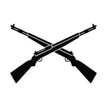 Crossed Long Gun In Black And White