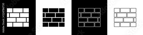 Fotomural Set Bricks icon isolated on black and white background