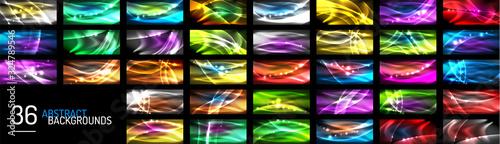 Fototapeta Set of neon wave abstract backgrounds. Vector Illustration For Wallpaper, Banner, Background, Card, Book Illustration, landing page obraz
