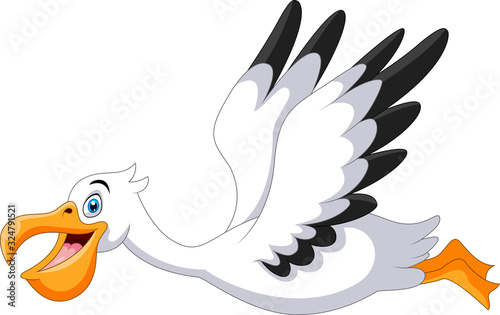 Caute cartoon pelican is flying Wallpaper Mural