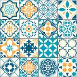Fototapeta Kuchnia - Portuguese or Spanish Azujelo vector seamless tiles design - Lisbon retro truquoise and yellow pattern, tile big collection