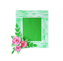 Green Sa Paper Or Mulberry Paper Picture Frame With Decorative Pink Flowers And Leaves Patterns Isolated On White Background , Clipping Path