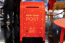 Postal Service, Delivery. New Year Post Box . Traditional Christmas, New Year Holiday Celebration Party. Happy New Year. Retro New Year Post Box, Great Design For Any Purposes.