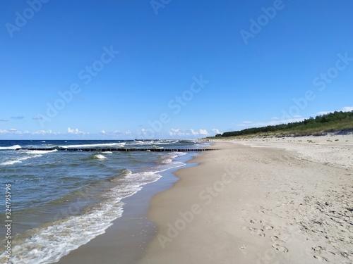 Obraz Międzywodzie, Dziwnów, woda, morze, Bałtyk, plaża, wydmy - fototapety do salonu