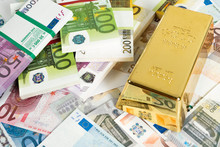 Gold Bars And Euro Banknotes. Gold Bullion And Money
