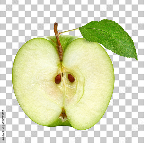 Fototapeta Half cut green apple with leaf front view on isolated background including clipping path obraz