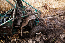 Riding The Forest By Car And Buggy. Offroad Trip To The Mountains. Wheel In The Swamp