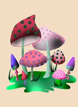 Amanita Rubrovolvata Or Volva Mushroom Digital Art Illustration. Boletus Have A Multi-colored Fantastic Cap With A Ring. Mushroom Season, Plant Growing In Forests And Forests