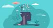 Mind growth progress concept, flat tiny person vector illustration