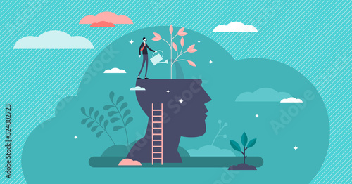 Billede på lærred Mind growth progress concept, flat tiny person vector illustration