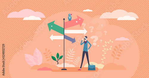 Valokuva Decision crossroads concept, flat tiny businessman person vector illustration