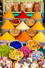 Herbs And Spices Sold In A Shop In The Souks Of Marrakesh, Morocco