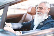 Hipster Stylish Man Driving Co...