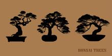 Set Of Bonsai, Black Silhouette Of Bonsai. Vector Illustration. Original Bonsai Style Vector Illustrations. Decorative Arts Small Plant In Pot Decorative Plants, Dwarf Trees, Ornamental Plants.