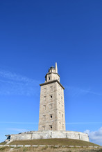 Minaret Of The Mosque, Photo As A Background , In A Coruna North Spain, Galicia, Spain, Europe , Tower Of Hercules Lighthouse