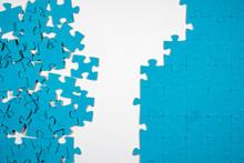 Undone Puzzle Jigsaw. Blue Puzzle On White Background.