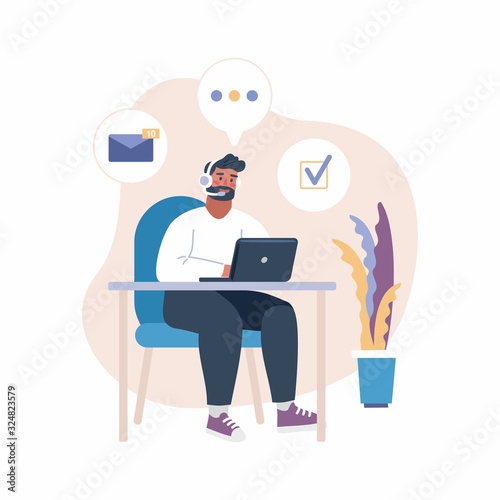 Vector illustration of man with headset working with laptop Wallpaper Mural