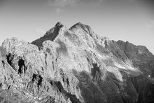 Rysy, Poland. Tatry Mountain Peak In Poland. Black And White Retro Style Photo.