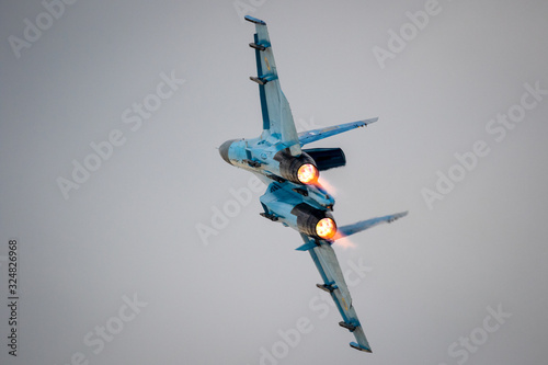 Air Force fighter jet plane take-off with afterburner Canvas Print