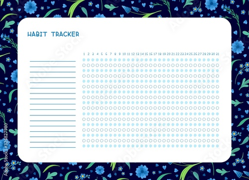 Habit tracker for month flat vector template. .Spring blue wild flowers themed blank, personal organizer with decorative frame. Summer season floral border
