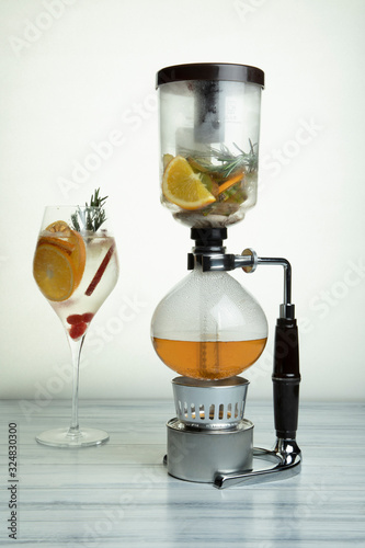 Fototapeta The Asian Monk Vodka infused with Thai flavours like Kaffir lime, Birds eye chilli and galangal Cocktail obraz na płótnie