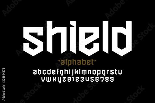 Shield style font design, security, protection theme alphabet, alphabet letters Fototapete