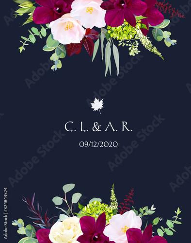 Luxury fall flowers vector design navy blue frame Canvas Print