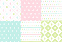 Easter, Paschal Eggs Regular Seamless Spring Patterns Collection, Set. Pink, Green, Blue Colors. Tiny Painted Cute Egg Shapes With Stripes, Square Check, Plaid, Wavy Doodle Hand Drawn Streaks Textures