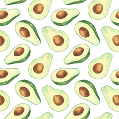 Fototapeta Do baru Big watercolor avocado seamless pattern. Isolated hand draw illustration.