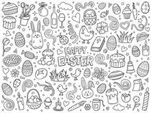 Cartoon Hand Drawn Vector Doodle Set Of Traditional Easter Items.
