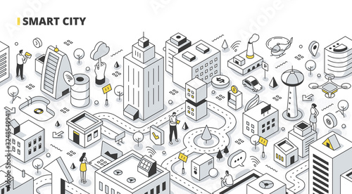 Smart City Isometric Outline Illustration