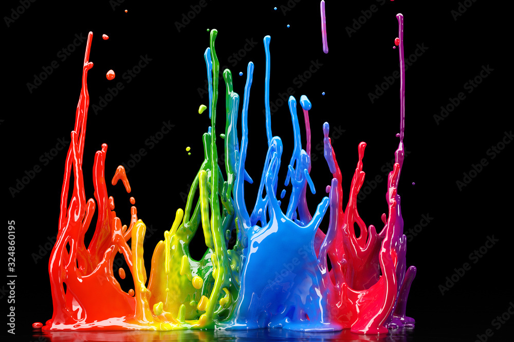 Fototapeta Bunte Farbe spritzt und tropf vor schwarzen Hintergrund