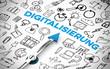 Leinwanddruck Bild - Digitalisierung Konzept mit Kompass und Schriftzug