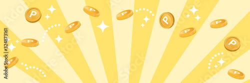 Obraz コイン風のポイントが飛ぶ ハッピーなイメージ(横長バナー) - fototapety do salonu
