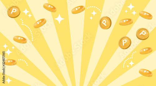 Obraz コイン風のポイントが飛ぶ ハッピーなイメージ(余白多め) - fototapety do salonu