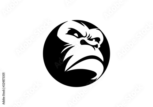 Photo black, gorilla, gorilla logo,strong, monkey,strong,