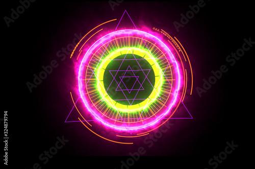 Digital meter energy pink powerful around and magic purple six star in core Wallpaper Mural