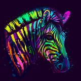 Fototapeta Zebra - Zebra.  Abstract, neon, multicolored portrait of zebra head on a dark blue background with bright splashes of paint.