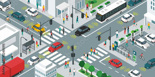 Smart transportation and vehicles moving in the city streets Fototapet