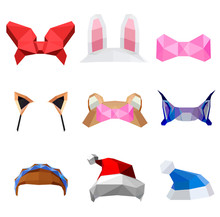 Polygonal Simple Design Low Poly Details: Red Bow, Rabbit Ears, Pink Bow, Cat Ears, Bear Ears, Lynx, Hairstyle With A Blue Ribbon, Caps, Vector Graphic Colour Pattern On White Background