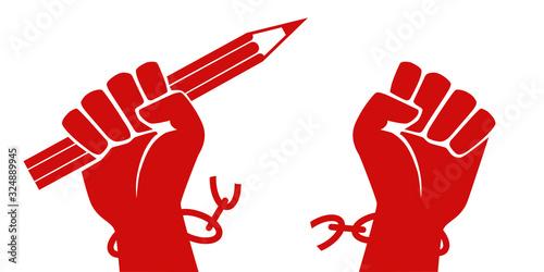 Concept de la liberté d'expression, avec un poing levé tenant un crayon rouge qui brise ses chaînes en symbolisant la lutte pour le droit d'exprimer librement son opinion.