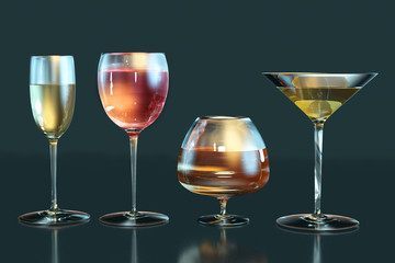 3d illustration of cognac, white wine, red wine, martini glasses in row on dark backgroun