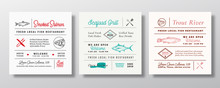 Local Fish And Seafood Party Or Restaurant Signs, Titles Or Menu Decoration Elements Set. Retro Typography Layouts Bundle With Hand Drawn Trout, Tuna And Salmon Sketches. Vintage Label Templates.