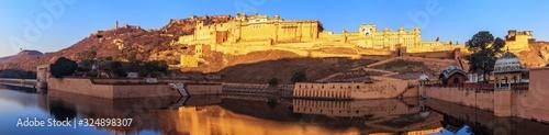 Amber fort in Jaipur, India, peaceful sunrise panorama Slika na platnu